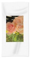 Peach Roses In Greeting Card Beach Towel