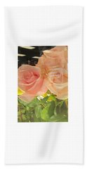 Peach Roses In Greeting Card Beach Sheet