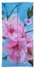 Peach Tree In Bloom Diptych Beach Sheet by Sharon Duguay
