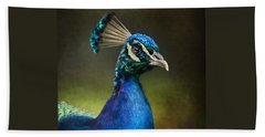 Beach Towel featuring the photograph Peacock by Ann Lauwers