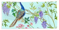 Peacock Chinoiserie Surface Fabric Design Beach Sheet by Kimberly McSparran