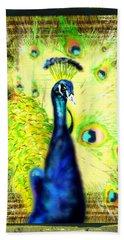 Beach Towel featuring the drawing Peacock by Daniel Janda