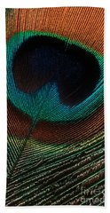 Beach Towel featuring the photograph Peacock Feather by Jerry Fornarotto