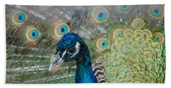 Peacock Portrait Beach Sheet