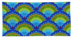 Peacock Scallop Feathers Beach Towel