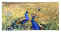 Peacocks In A Field Beach Towel by Mildred Anne Butler