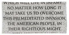 Pearl Harbor Speech - Franklin Delano Roosevelt Beach Sheet