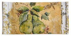 Pears And Dragonfly On Vintage Tin Beach Towel