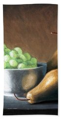 Pears And Grapes Beach Towel