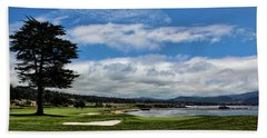 Pebble Beach - The 18th Hole Beach Towel by Judy Vincent