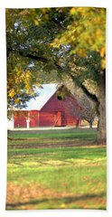 Beach Towel featuring the photograph Pecan Orchard Barn by Gordon Elwell