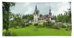Peles Castle In The Carpathian Beach Towel by Panoramic Images
