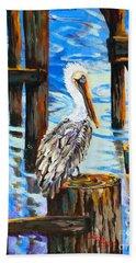 Pelican And Pilings Beach Towel
