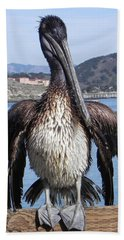 Pelican At Avila Beach Ca Beach Towel by Kathy Churchman