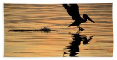 Pelican At Sunrise Beach Towel by Leticia Latocki