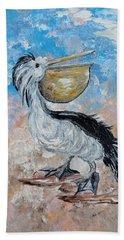 Beach Towel featuring the painting Pelican Beach Walk - Impressionist by Eloise Schneider