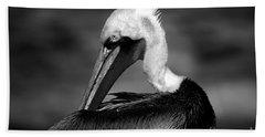 Pelican In Waves Beach Towel
