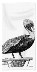 Pelican Of Monterey Beach Towel by Jack Pumphrey