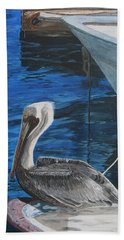 Pelican On A Boat Beach Towel