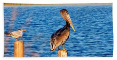 Pelican On A Pole Beach Sheet