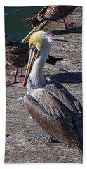 Pelican On Dock Beach Towel