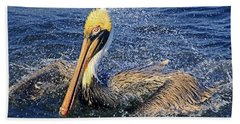 Beach Sheet featuring the photograph Showering Pelican by Larry Nieland