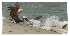 Pelican Steals The Fish Beach Towel