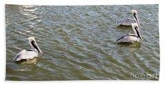 Beach Towel featuring the photograph Pelicans In Florida by Oksana Semenchenko