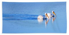 Pelicans On The Bay Beach Sheet by AJ  Schibig