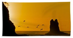 Pelicans On The Wing II Beach Towel
