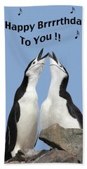 Penguin Birthday Card Beach Sheet