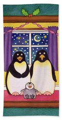 Penguin Family Christmas Beach Sheet by Cathy Baxter