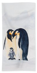 Penguin Family Beach Sheet by Elvira Ingram