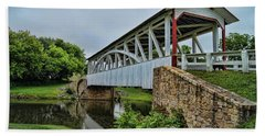 Pennsylvania Covered Bridge Beach Towel by Kathy Churchman