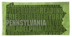 Pennsylvania Word Art State Map On Canvas Beach Towel