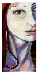 Beach Towel featuring the painting Pensive Lady by Helena Wierzbicki