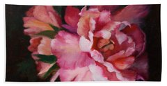 Peonies No 8 The Painting Beach Sheet by Marlene Book