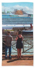 People At Southampton Eastern Docks Viewing Ship Beach Towel