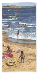 people on Bournemouth beach Blue Sea Beach Towel by Martin Davey