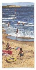 people on Bournemouth beach Blue Sea Beach Towel