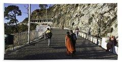 People Walking On The Path Leading To Shrine Of Vaishno Devi Beach Towel