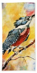 Beach Towel featuring the painting Perched Kingfisher by Al Brown