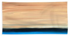 Perfect Calm - Abstract Earth Tone Landscape Blue Beach Towel