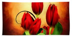 Perfect Gift Of Love- Red Tulips Paintings Beach Towel