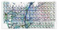 Periodic Table Colorful Liquid Splash Beach Sheet