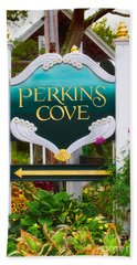 Perkins Cove Sign Beach Sheet by Jerry Fornarotto
