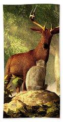 Persian Cat And Deer Beach Towel