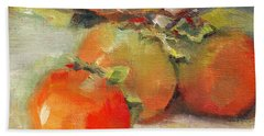 Beach Towel featuring the painting Persimmons by Michelle Abrams