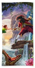 Peter Pan And Captain Hook Beach Towel