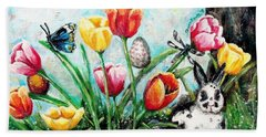 Beach Towel featuring the painting Peters Easter Garden by Shana Rowe Jackson